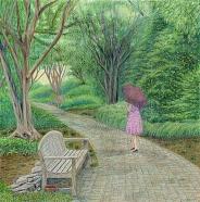 Garden Girl on a Misty Morning Walk